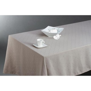Nappe anti-tâches Carrés - 150 x 300 cm - Couleur lin