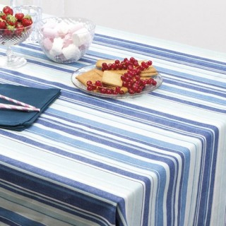 Nappe Rayures - 150 x 150 cm - Bleu