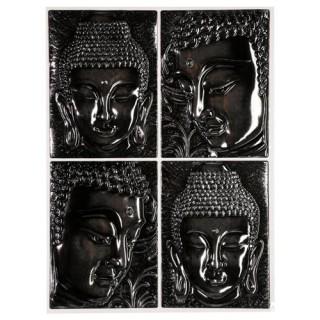 Sticker Relief Bouddha - 38 x 50 cm - Gris