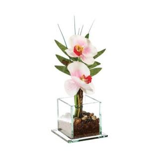 Composition de fleurs artificielles Orchidées - H. 25 cm - Blanc