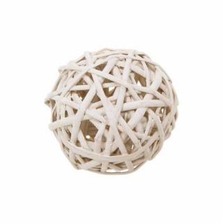 Boule décorative en Osier - Diam. 8 cm - Blanc