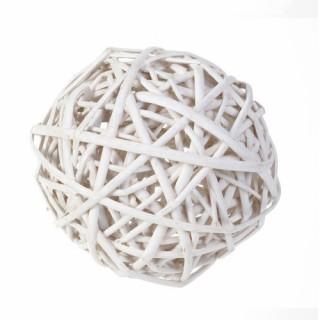Boule décorative en Osier - Diam. 12 cm - Blanc