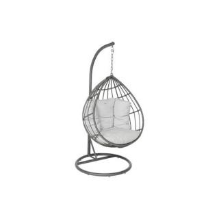 Fauteuil suspendu de jardin Merengue - Résine tressée - Gris