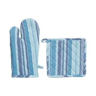 Gant et manique Rayure - Bleu