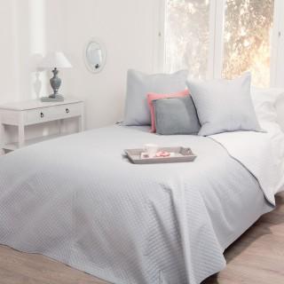 Dessus de lit et 2 taies Bicolore - 260 x 240 cm. - Gris et blanc
