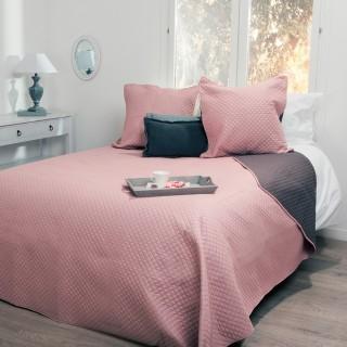 Dessus de lit et 2 taies Bicolore - 260 x 240 cm. - Rose et taupe