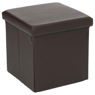 Pouf carré Pliant - PVC - Marron