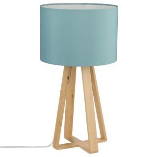 Lampe à pied en bois - H. 47,5 cm. - Bleu