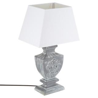 Lampe Patine en bois - H. 50 cm. - Gris