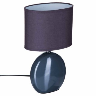 Lampe Ovale en céramique - H. 31 cm. - Gris