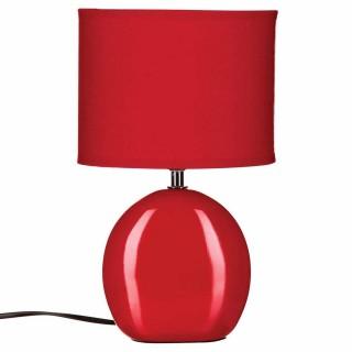 Lampe Ovale en céramique - H. 31 cm. - Rouge
