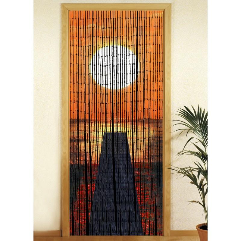 rideau de porte bambou coucher de soleil decoandgo. Black Bedroom Furniture Sets. Home Design Ideas