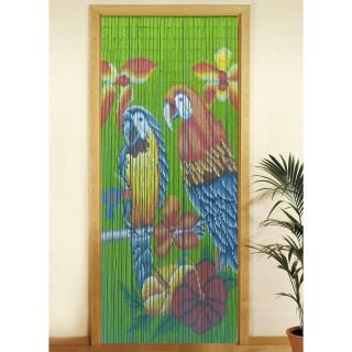 Rideau de porte - Bambou - Perroquet