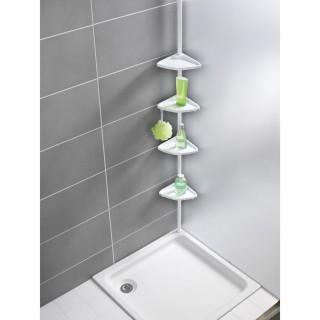 Etagère télescopique d'angle de salle de bain - Blanc
