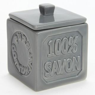 Pot à coton 100% savon - Céramique - Gris