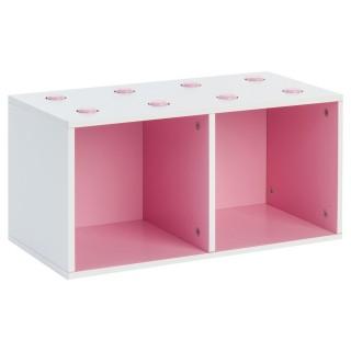 Rangement Cube - 2 Compartiments - Rose