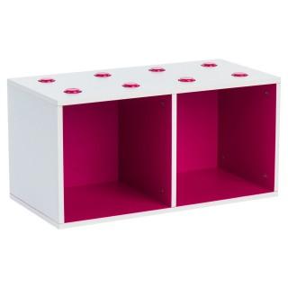 Rangement Cube - 2 Compartiments - Fuchsia