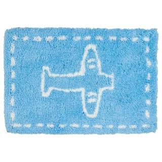 Tapis microfibre - 90 x 60 cm. - Bleu