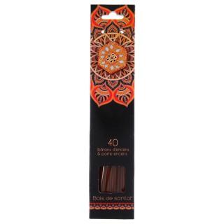 40 Bâtons d'encens avec support - Parfum Bois de Santal
