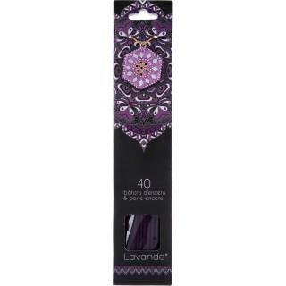 40 Bâtons d'encens avec support - Parfum Lavande