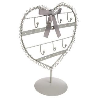 Porte bijoux cœur - Gris