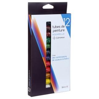 12 Tubes de peinture aquarelle 12 ml. - 2 pinceaux