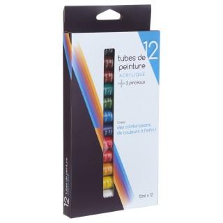 12 Tubes de peinture acrylique 12 ml. - 2 pinceaux