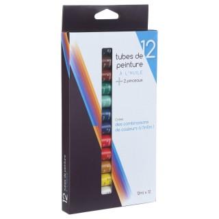 12 Tubes de peinture à l'huile 12 ml. - 2 pinceaux