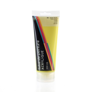 Tube de peinture acrylique - 200 ml. - Jaune