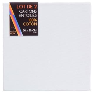 Carton entoilé en coton - 20 x 20 x 2 cm.