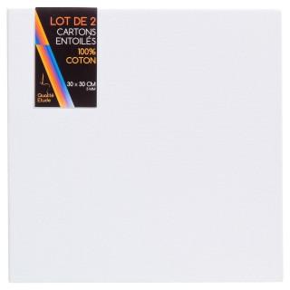 Carton entoilé en coton - 30 x 30 x 2 cm.
