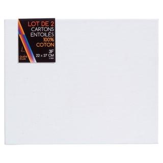 Carton entoilé en coton - 22 x 27 x 2 cm.