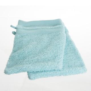 2 Gants de toilette - 15 x 21 cm. - Bleu clair