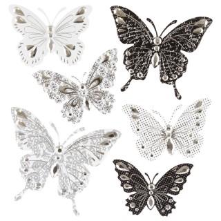 6 Stickers 3D Papillon - Noir et gris
