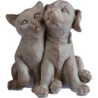 Statuette Chien et chat - Résine