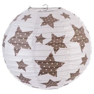 Lanterne boule imprimée - Diam. 35cm. - Blanc