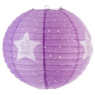 Lanterne boule imprimée - Diam. 35cm. - Violet