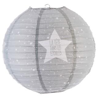 Lanterne boule imprimée - Diam. 35cm. - Gris