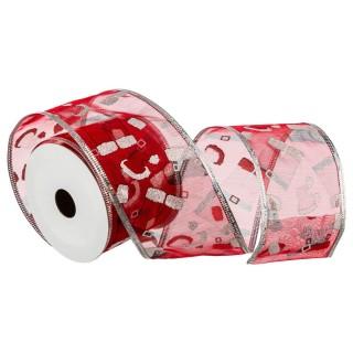 Ruban textile imprimé - Rouge