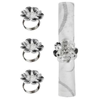4 Ronds de serviette - Fleurs