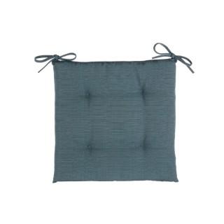 Galette de chaise 4 Boutons- 40 x 40 cm - Bleu orage