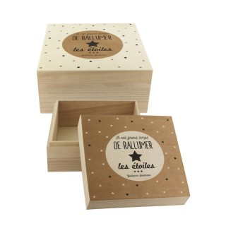 2 Boites en bois Deco Chic - Rallumez les étoiles