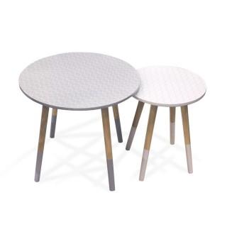 2 Tables Gigognes Mobiliers Design - Blanc et gris à motifs