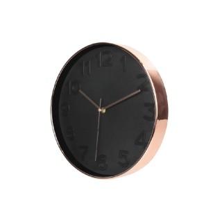 Horloge ronde Deco Chic - Diam. 30,5 cm - Noir et cuivre