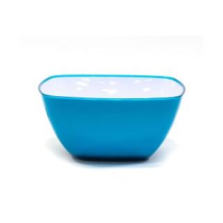 Saladier en plastique - Design carré - Bicolore Azur