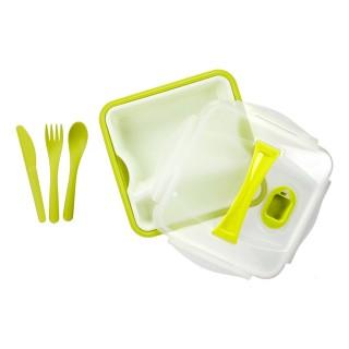 Lunch box compartimentée avec couverts - Vert
