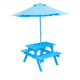 Table pique-nique avec parasol Poupon - Turquoise