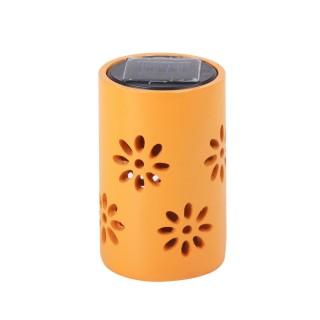 Lanterne solaire - Motifs fleuris - Orange