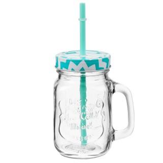 Chope à limonade avec paille - Turquoise