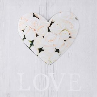 Toile imprimée Cœur - 28 x 28 cm - Cœur roses blanches